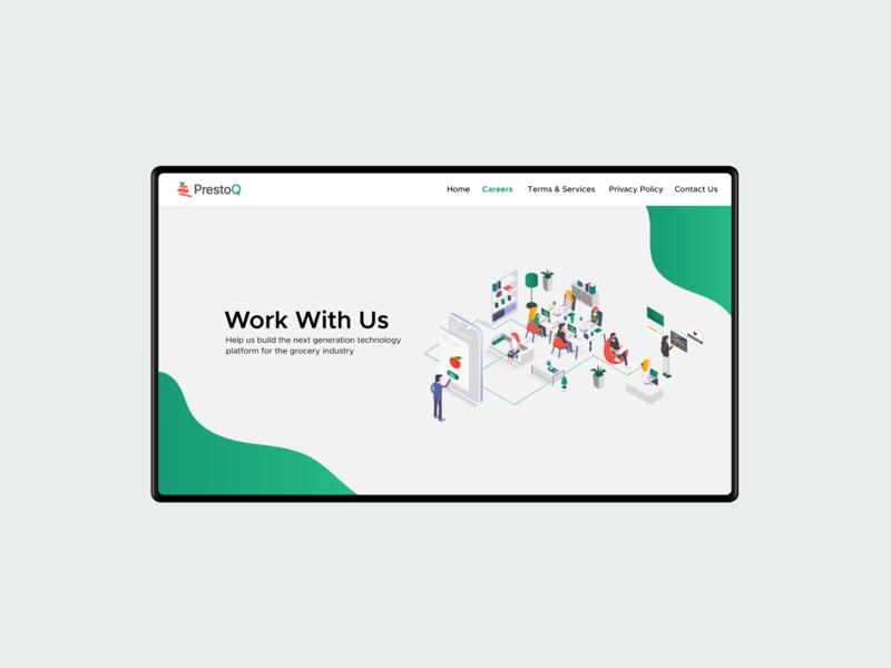 Work with Us illustration minimal clean ux ui website hire careers