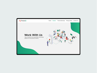 Work with Us illustration minimal clean ux ui website hire careers
