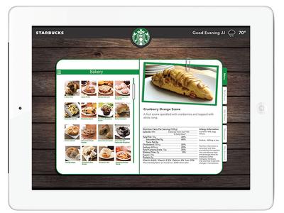 Starbucks iPad App Concept Bakery Menu
