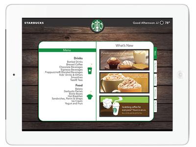 Starbucks iPad App Concept Menu
