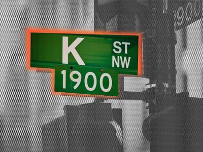 K Street Sign Concept design canva canva template dots corruption lobbying concept washington dc k street