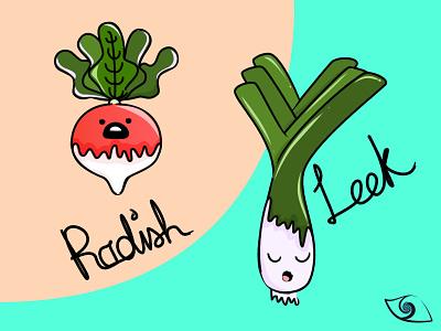 Cute Veggies - Radish (^O^) & Leek ( ̄o ̄) daily radish leek vegetables veggies cute vector illustration affinity designer illustration vector