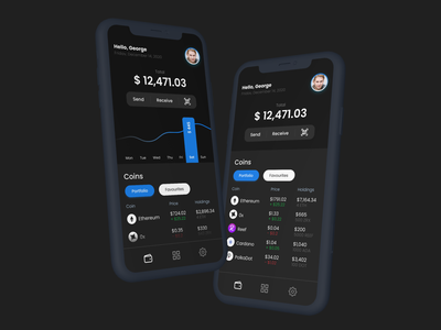 Crypto Wallet App mobile app mobile ui mobile app ui app ethereum bitcoin wallet exchange bitcoins bitcoin crypto exchange crypto currency cryptocurrency crypto wallet crypto