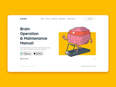 Brain Book Concept Landing Page yellow brain website interface branding 3d graphic design concept landing page ui