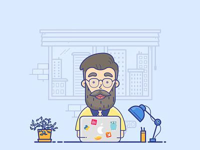 iOS Geek Programmer illustrator dribbble character avatar