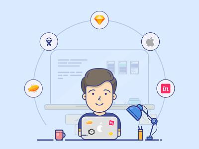 UI Designer Caracter dribbble invitation illustrator dribbble character avatar