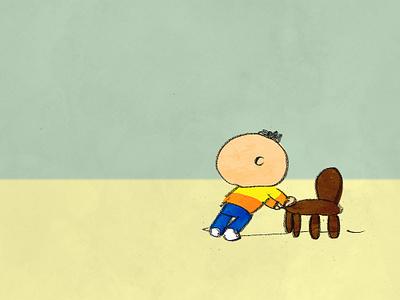 Pushing a chair child chair illlust human man illustraion
