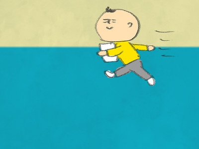 A person dressed in yellow run yellow human man illust illustraion