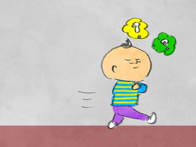 I am thinking thinking purple green yellow illustraion human man
