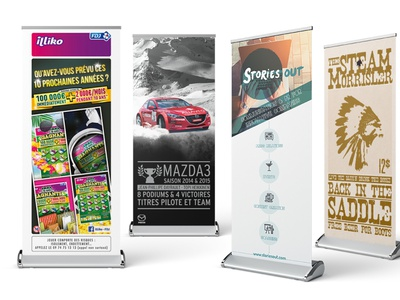 Rollup bundle advertising point of sale rollup art direction