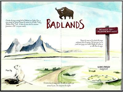 Day 2, Badlands traveljournal travelbook illustration drawing travel watercolor