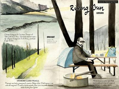 Rising Sun west traveljournal travelbook illustration drawing travel watercolor