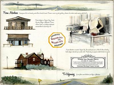 Nevada&Virginia City west traveljournal travelbook illustration drawing travel watercolor