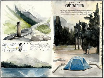 Jenny Lake, Grand Teton NP west lake traveljournal travelbook illustration drawing travel watercolor