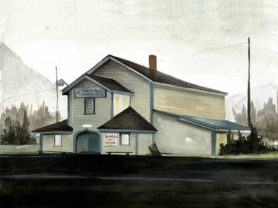 On the Road, Alberta travel illustration house landscape canada watercolor