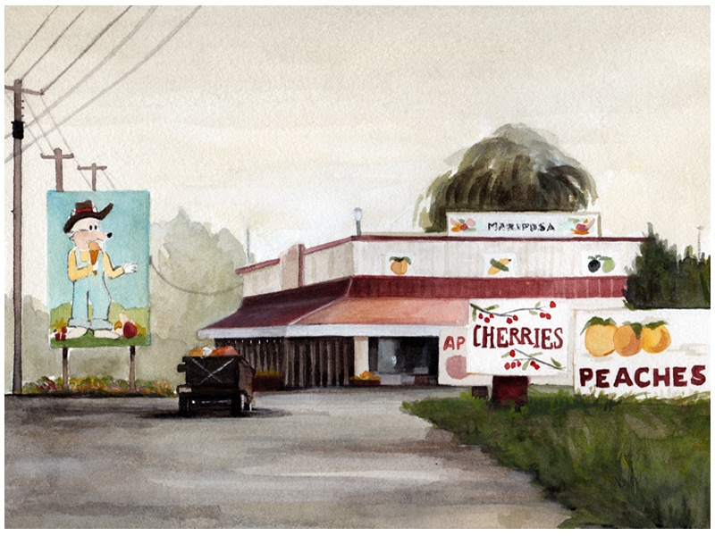 Fruit town travel illustration house landscape canada watercolor