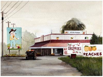 Fruit town travel illustration house landscape canada watercolor