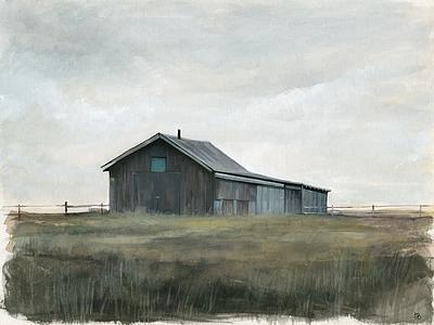 Montana, barn travel west art drawing watercolor landscape illustration