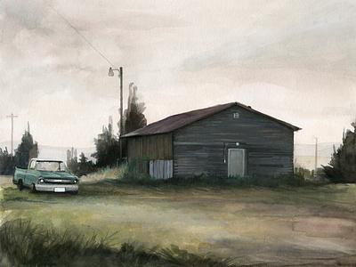 White Sulphur Springs, ink watercolor travel drawing art west landscape illustration