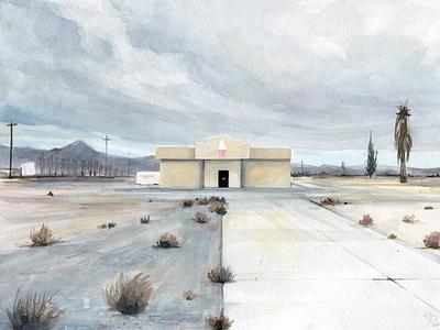 Amargosa Valley drawing travel art west watercolor landscape illustration