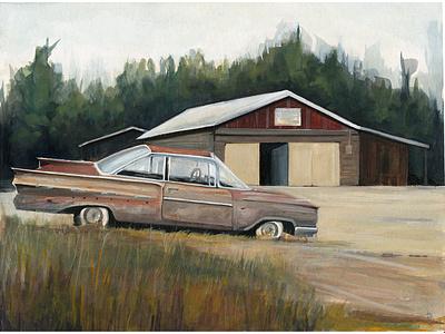Garage, Canada drawing art watercolor landscape west illustration