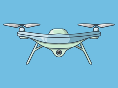 Drone quadcopter propeller fly camera blue minimal illustrator flat art vector illustration icon drone