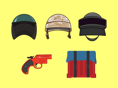 Set of stickers on  theme videogame PUBG stickers armor helmet gun weapons flaer gun air drop battle royale pubg mobile pubgmobile pubg design illustrator graphic design minimal illustration icon flat art vector