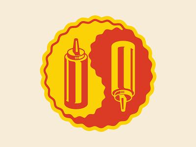 Hot Dog Party Yin Yang icon logo illustration branding yin tang hot dog