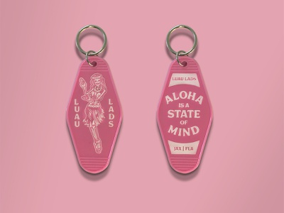 Luau Lads Keychain typography illustraion branding retro skull illustration aloha hula motel key hotel key keychain luau lads