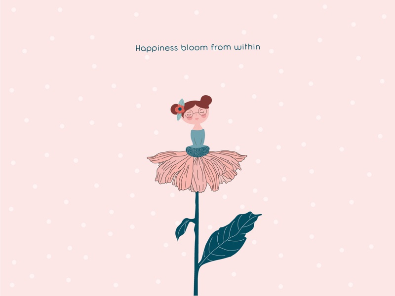 Happiness bloom from within drawing pink flower illustration girl illustration girl flower illustration design