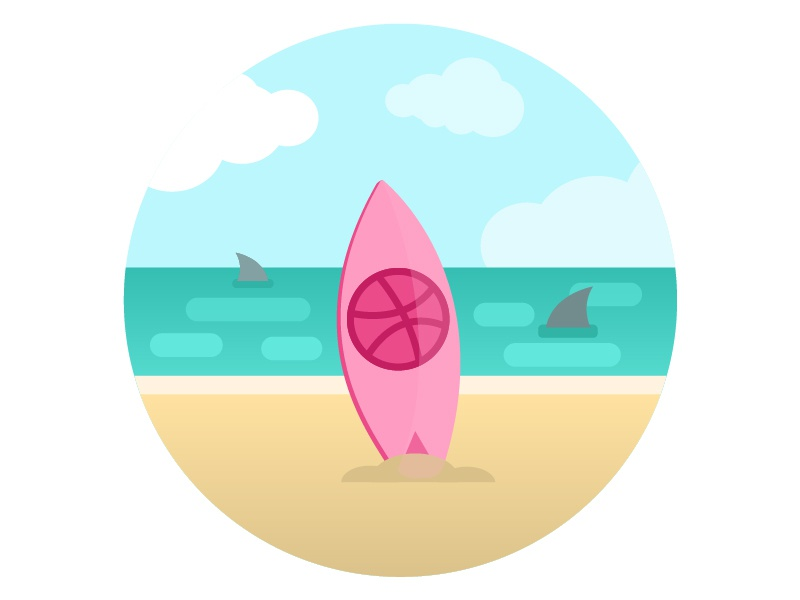 "First shot ""Hello Dribbble"" gide1artstudio vector illustration flat wave summer ocean shark sea surfboard beach sunny"