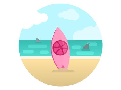 "First shot ""Hello Dribbble"" gide1artstudio vector illustration flat wave summer ocean shark sea surfboard beach sunny"