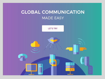 Landing page idea global communication gradient icons landing page
