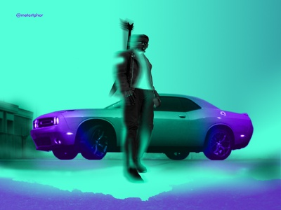 Duo Chrome 90s hues guitar car photoshop metartphor graphic creative artwork artist art design