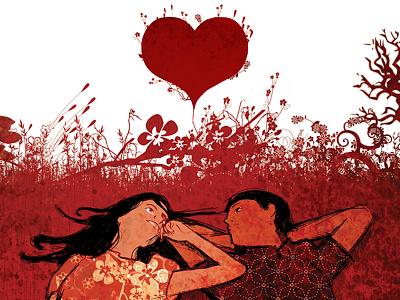 Valentine's Day creative ad love girl teens illustration