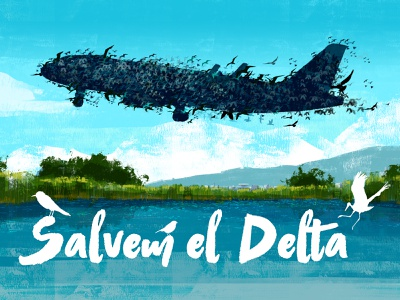 Free Delta airport wildlife nature creative poster advertising landscape illustration