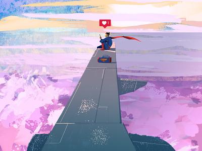 Social Media Holidays airplane holidays superheroes ad creative characterdesign cover landscape illustration