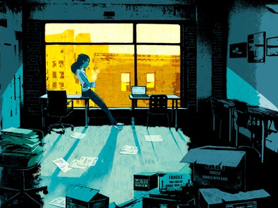 Back at work coffee office building window creative ad lighting lights design cover illustration