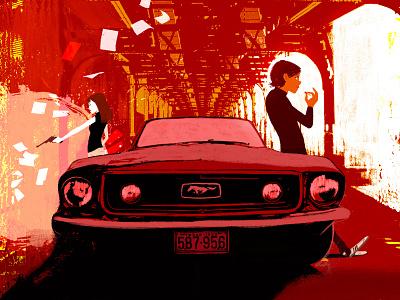 Young Guns car creative ad lights teens illustration