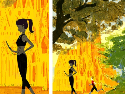 Fall has come barcelona creative ad fall poster landscape lights characterdesign illustration