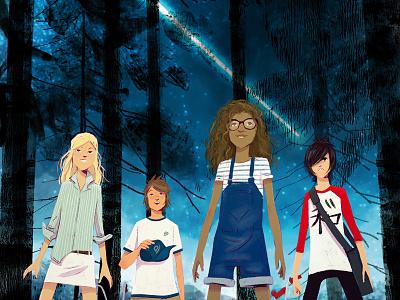 The Comet Guardians book cover lights teens landscape illustrator childrenbook characterdesign cover illustration