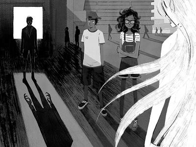 The Comet Guardians landscape teens lights childrenbook characterdesign illustration