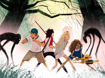 The Comet Guardians book cover landscape lights teens characterdesign cover childrenbook illustration