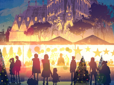 Happy Holidays! arquitecture sagrada familia christmas barcelona landscape lights illustration