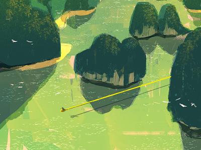 Kinton cloud dragonball book cover childrenbook illustrator lights landscape illustration