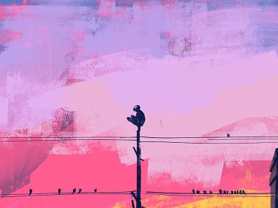 Dusk editorial magazine cover coverart pink silhouette painting marvel spider man creative artdirector design landscape illustration