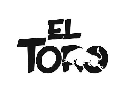 El Toro bull toro negativespace flat vector typography logo minimal illustration design branding