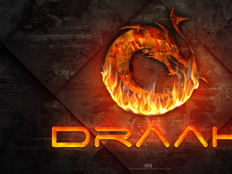 DRAAK flame fire dragon logo vector typography illustration design branding