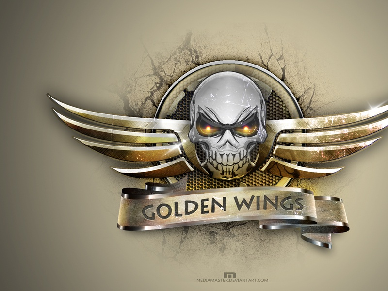 GOLDEN WINGS wings motorcycle skull illustrator logo vector illustration design branding