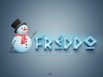 FREDDO character cold snowman icecream snow typography logo vector illustration design branding